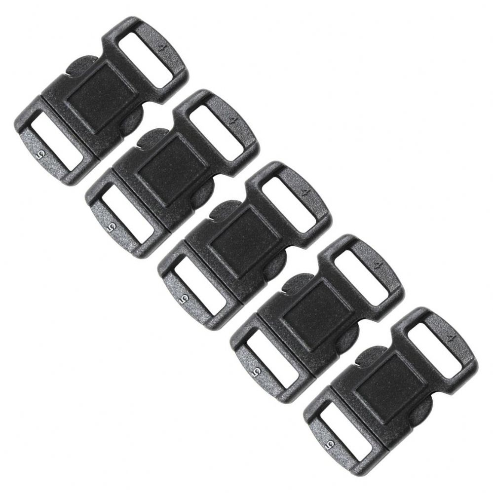 5 X Contoured Fastex Buckles ideal for Single Stitch Paracord Bracelets (10mm webbing)